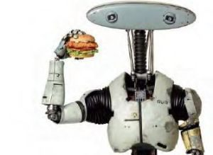 Robot holding sandwich